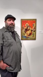 Vas Avramidis with His Painting at the New Jersey State Museum